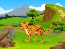 Funny Cheetah cartoon in the jungle with landscape background Royalty Free Stock Photography
