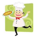 Funny chef. Funny cartoon chef holding a plate with pizza Royalty Free Stock Images