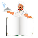 Funny Chef and book menu Stock Image