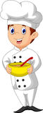 Funny chef cartoon bring bowl Stock Photo