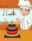 Funny chef cartoon with her made cake Stock Photography