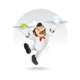 Funny Chef Cook with Diet Food on Dishes. Vector Royalty Free Stock Image