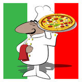 Funny chef cook pizza Royalty Free Stock Photo