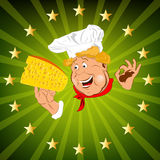 Funny Chef and  dairy cheese Royalty Free Stock Photo