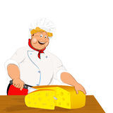 Funny Chef and dairy cheese Stock Images