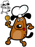 Funny chef dog. Crazy Dog Cooker. Vector Illustration for dog's products Royalty Free Stock Images