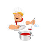 Funny Chef and fresh food Royalty Free Stock Photo
