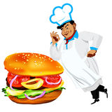 Funny Chef  and  fresh hamburger Royalty Free Stock Photo