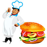 Funny Chef  and  fresh hamburger Stock Image