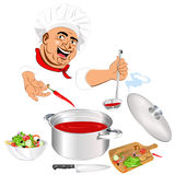 Funny Chef and fresh vegetable food Stock Photography