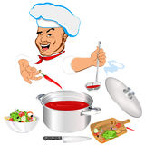 Funny Chef and fresh vegetable food Royalty Free Stock Photos