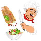 Funny Chef and fresh vegetable salad Royalty Free Stock Image
