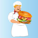 Funny Chef and  hamburger Royalty Free Stock Photography