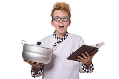 Funny chef holding pan isolated on white Royalty Free Stock Images