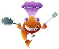 Funny chef. Funny illustrated  cartoon image of fish chef Royalty Free Stock Photos