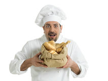 Chef with Italian bread Royalty Free Stock Photography