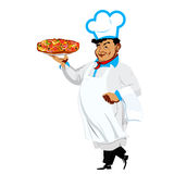Funny Chef and italian pizza Stock Photography