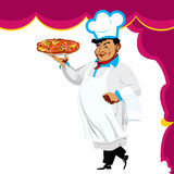 Funny Chef and italian pizza Royalty Free Stock Photography
