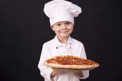 Funny chef keeps pizza salami. And cheese Royalty Free Stock Photo