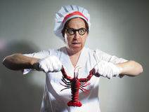 Chef with lobster Royalty Free Stock Images