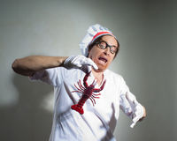 Chef with lobster Stock Image