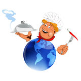 Funny Chef nad blue globe Stock Images
