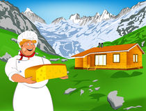 Funny Chef and Natural swiss dairy cheese Royalty Free Stock Photo