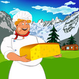 Funny Chef and Natural swiss dairy cheese Stock Photography