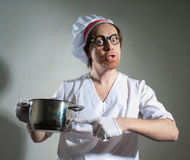 Chef with pan Royalty Free Stock Photography
