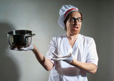 Chef with pan Royalty Free Stock Photos