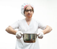 Chef with pan Royalty Free Stock Image