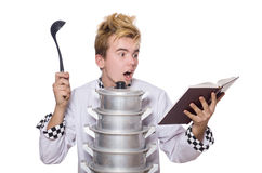 Funny chef with pans and recipe book isolated on Stock Photography