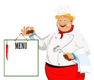 Funny Chef and paper menu Royalty Free Stock Photography