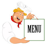 Funny Chef and paper menu Royalty Free Stock Images