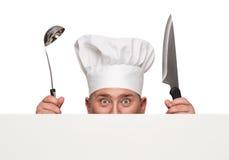 Funny chef peeking Stock Image