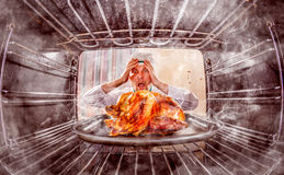 Funny chef perplexed and angry. Loser is destiny! Stock Photography
