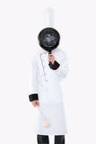 Funny chef posing. Funny chef isolated on white Royalty Free Stock Images
