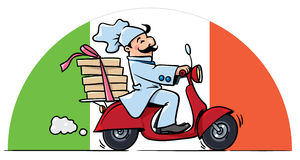 Funny chef on scooter. Pizza delivery Royalty Free Stock Images