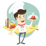 Funny chef serving meat dish in the kitchen Royalty Free Stock Photography