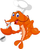 Funny chef shrimp cartoon cooking Royalty Free Stock Images
