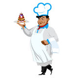 Funny Chef with sweet dessert Stock Image