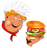 Funny Chef and  traditional hamburger Royalty Free Stock Photos