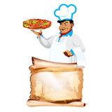 Funny Chef and traditional italian pizza Royalty Free Stock Photos