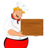 Funny Chef and wooden menu Royalty Free Stock Image