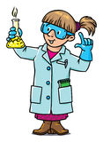 Funny chemist or scientist. Childrens vector illustration of funny chemist or scientist. A woman in glasses dressed in a lab coat and gloves with smocking retort vector illustration