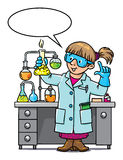 Funny chemist or scientist. Childrens vector illustration of funny chemist or scientist. A woman in glasses dressed in a lab coat and gloves with smocking retort Royalty Free Stock Photo