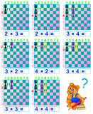 Funny chess. Exercises for children for studying multiplication table. Stock Photography