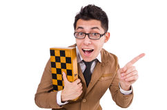 Funny chess player isolated Royalty Free Stock Photos