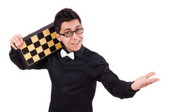 Funny chess player isolated Stock Images