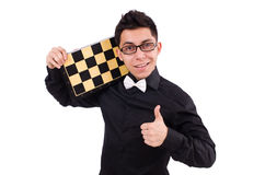 Funny chess player isolated Royalty Free Stock Photography